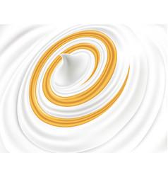 Fresh milk cream yogurt with golden swirl vector