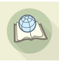 Globe on book science concept vector image