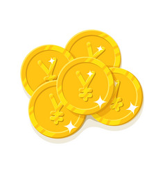 Gold chinese yuan or japanese yen coins cartoon vector