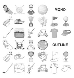 Golf and attributes monochrom icons in set vector