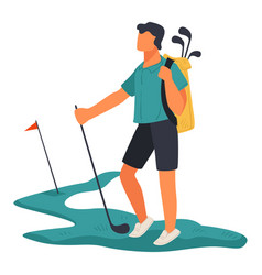 golf sport sportive man with clubs on field vector image