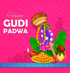 Gudi padwa lunar new year celebration in vector