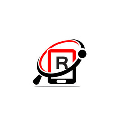 hand phone search initial r vector image