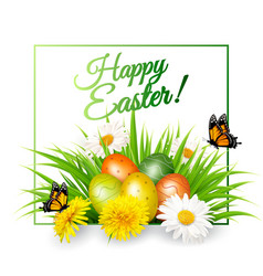 Happy easter background colorful eggs on green vector