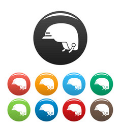 hiking helmet icons set color vector image