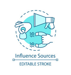Influence sources turquoise concept icon customer vector