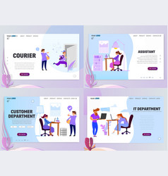 Landing page template customer service assistant vector