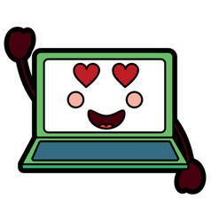 Laptopheart eyes kawaii icon ima vector