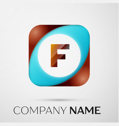 Letter f logo symbol in the colorful square on vector