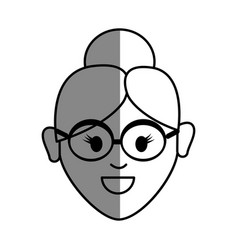 Line old woman face with glasses and hairstyle vector