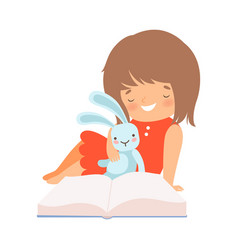 Little girl sitting with toy hare and learning to vector