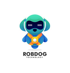 Logo robot dog gradient colorful style vector