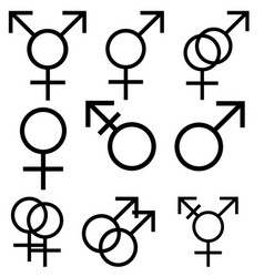Male and female sexual orientation icons set vector