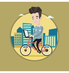 Man riding bicycle in the city vector image