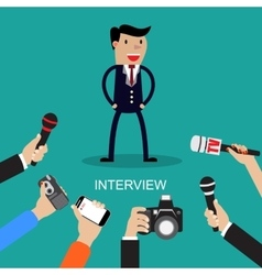 Media conducting a press interview with a vector