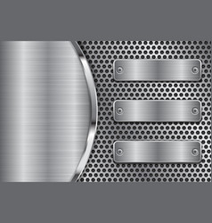 metal perforated background with brushed iron vector image