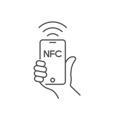 near field communication mobile phone with nfc vector image