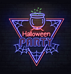 Neon sign halloween party with cauldron vector
