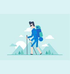 Nordic walking tour - modern flat design style vector