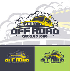 Off-road car logo template in three versions two vector