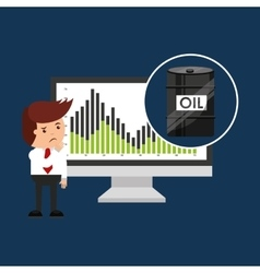 Oil and petroleum industry worried businessman vector