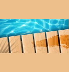 Pier with wooden boards at ocean or sea vector