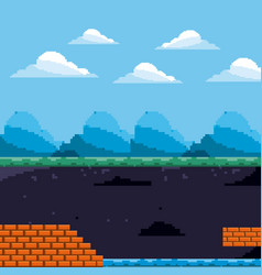 Pixel game scene day and underground level brick vector