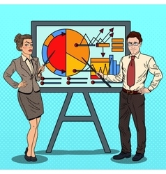 Pop Art Business People with Pointer Stick vector image