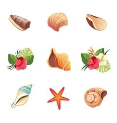 Realistic Beach Icons Set vector