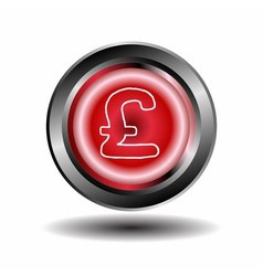 Red glossy round pound button vector