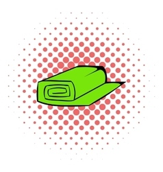 Roll of fabric icon comics style vector
