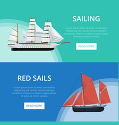 Sailing posters with old sailboats vector