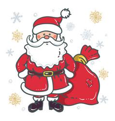 santa claus cartoon character with bag vector image