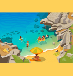 Sea lagoon with a small beach and swimming people vector