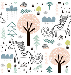 Seamless childish pattern with fairy unicorn vector