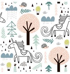 seamless childish pattern with fairy unicorn vector image