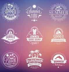 Set of Retro Summer Holidays Vintage Labels or vector