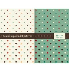 Set seamless colorful polka dot pattern vector image
