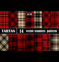 Set tartan plaid seamless pattern background vector