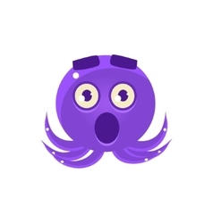 Shocked Funny Octopus Emoji vector