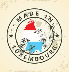 Stamp with map flag of Luxembourg vector