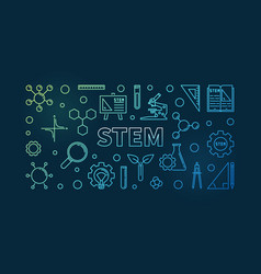 stem concept linear colored horizontal vector image