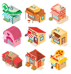 Store facade front shop icons set isometric style vector