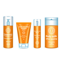 Sunscreen icons set realistic style vector
