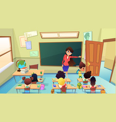 Teacher excluding pupil from class cartoon vector