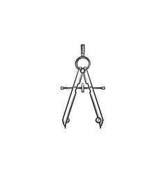 technical compass hand drawn sketch icon vector image