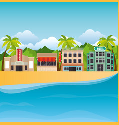 Tropical beach summer scene vector