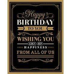 vintage frame happy birthday card typography vector image