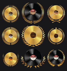 vinyl record and laurel wreath collection vector image