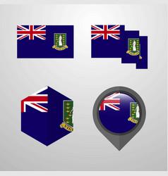 Virgin islands uk flag design set vector